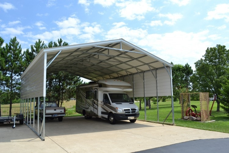 Triple wide carports all steel northwest for Triple carport prices