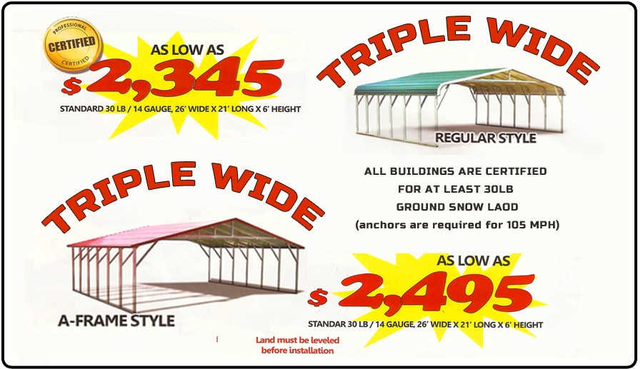 Triple Wide Carports Prices