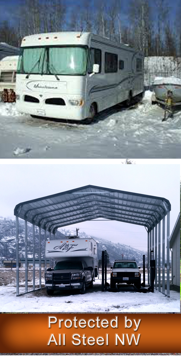 Rv owners in Salem Oregon trust All Steel NW metal carports and metal garages to protect their RV's against he brutal winters in Oregon