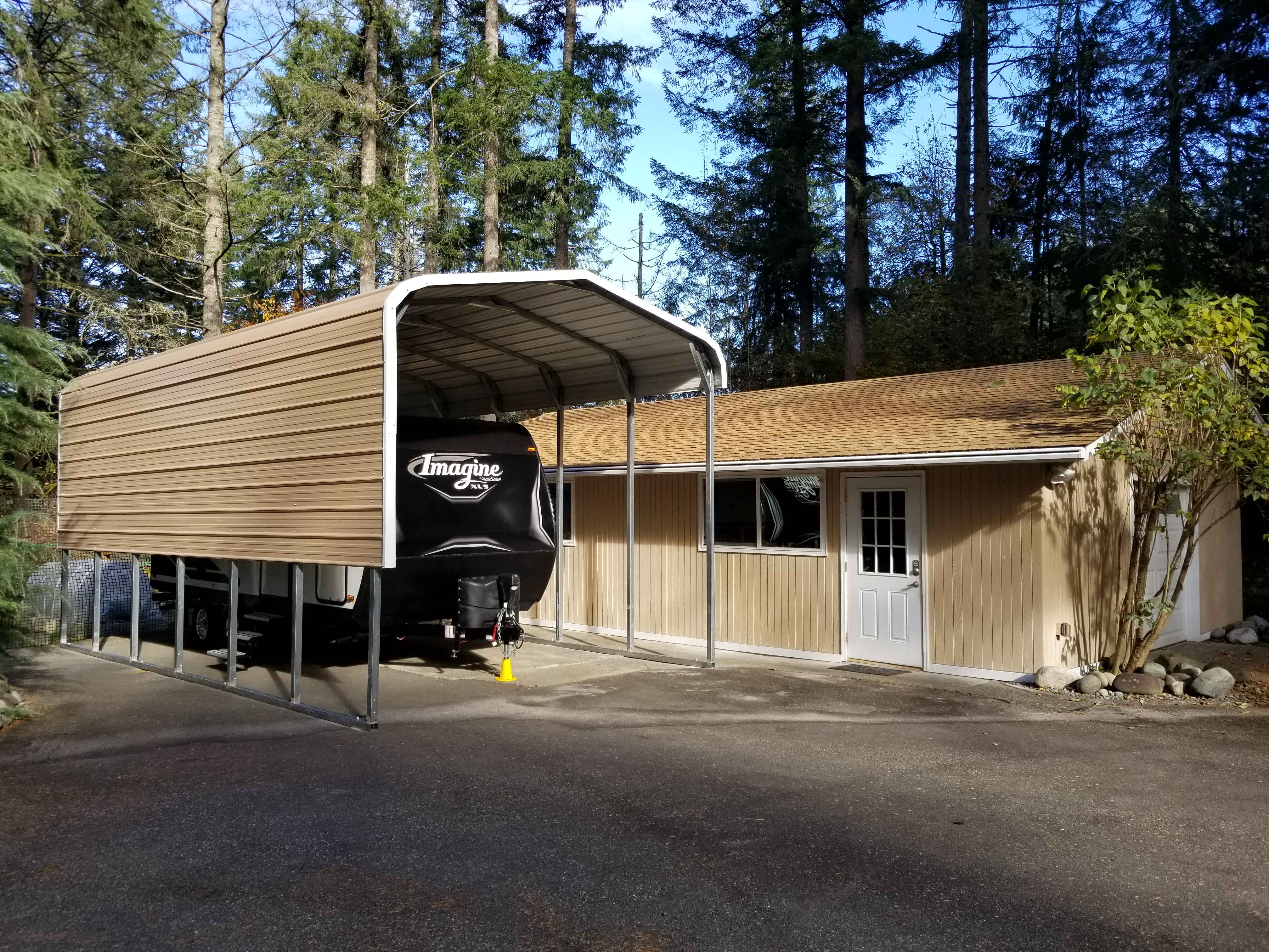 Beautiful Custom Designed RV cover from All Steel NW & JM Buildings 1